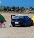 Auto in spiaggia a San leone