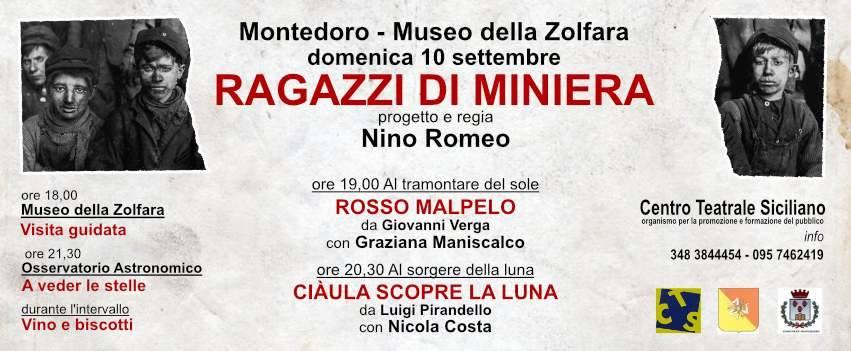 'Ragazzi di Miniera': due spettacoli il 10 settembre a Montedoro