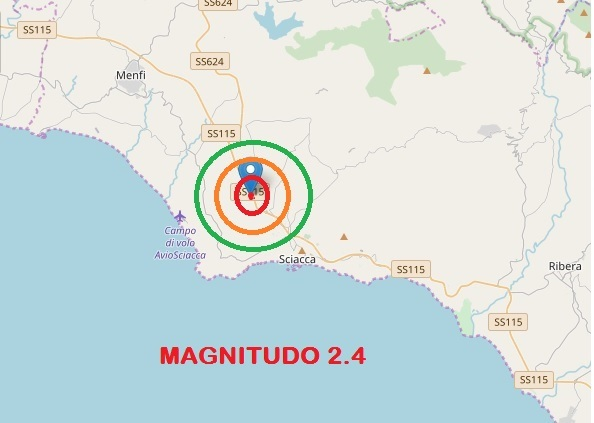 Terremoto di magnitudo 2.4 con epicentro nell'agrigentino registrato nelle scorse ore