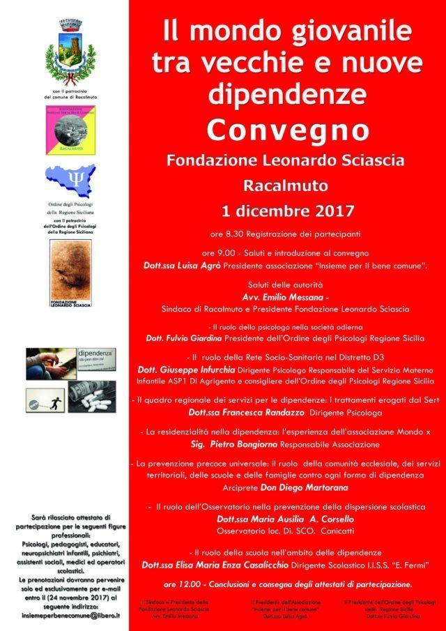 Il problema delle dipendenze: venerdì 1 dicembre convegno a Racalmuto