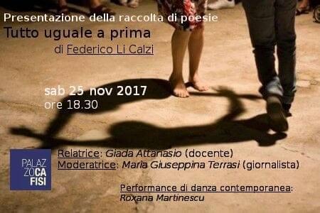 'Tutto uguale a prima': la presentazione della poesia di Federico Li Calzi avverrà sabato a Palazzo Cafisi