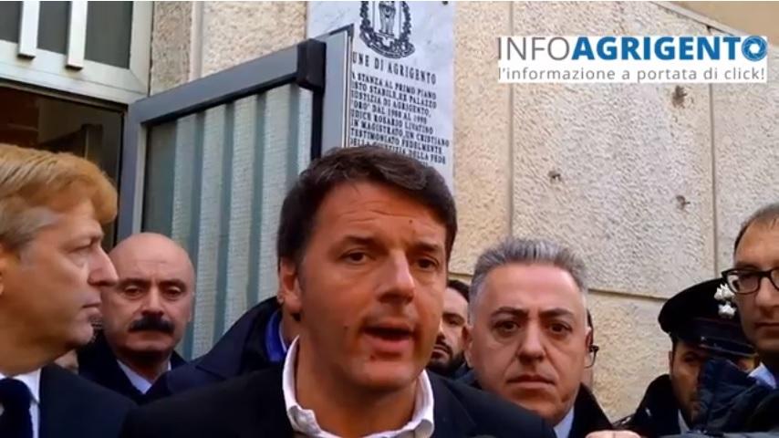 Matteo Renzi ad Agrigento visita la 'stanza della memoria'