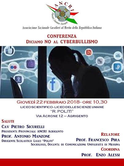 """Agrigento, al Liceo """"R. Politi"""" conferenza per dire no al Cyberbullismo"""