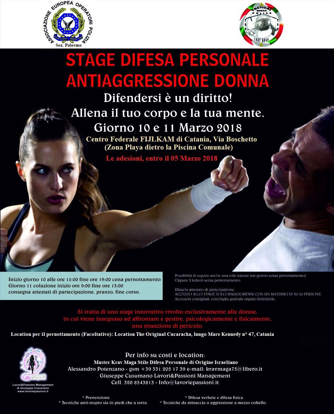 Stage di difesa personale anti aggressione donna
