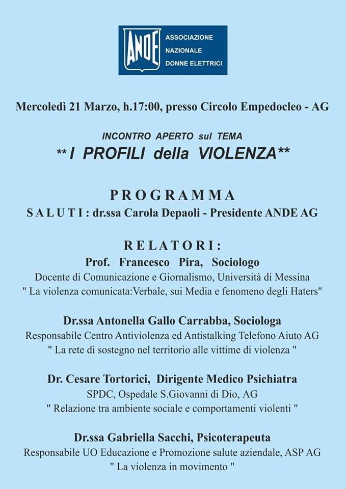 """Agrigento, al Circolo Empedocleo incontro sul tema: """"I profili della violenza"""""""