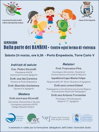 Seminario dell'Ancri sui diritti dei bambini a Porto Empedocle