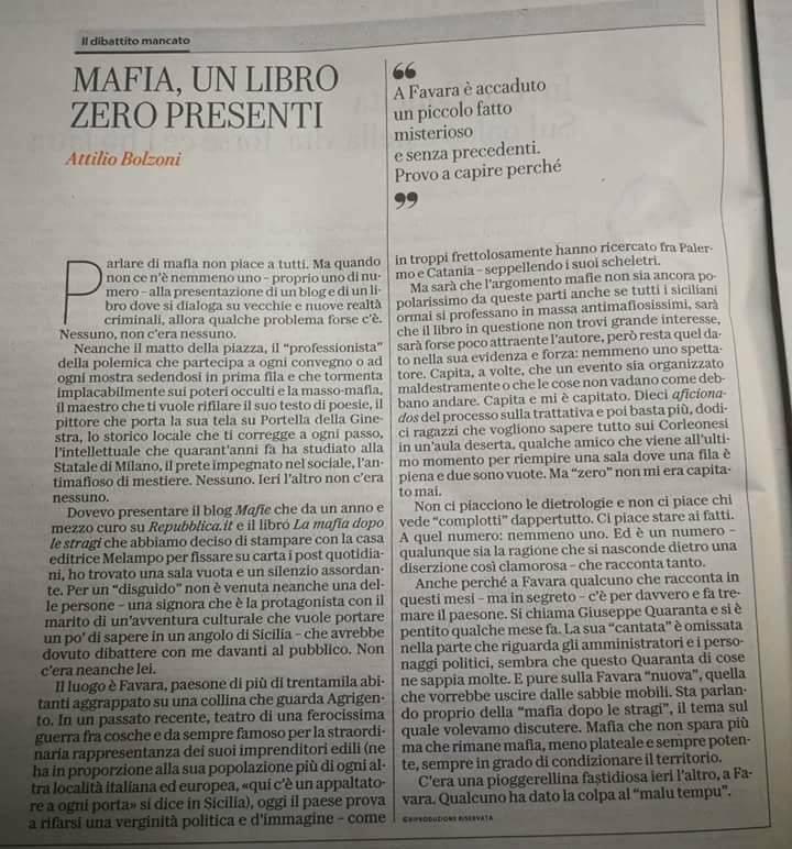 A Favara scoppiano le polemiche dopo l'editoriale di Attilio Bolzoni