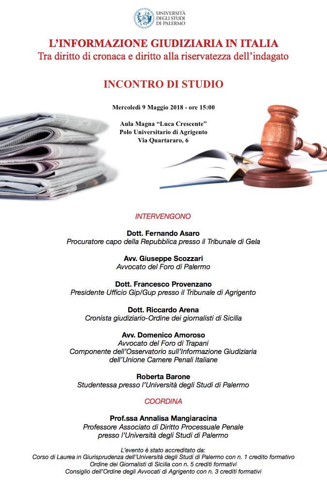 """""""L'informazione giudiziaria in Italia"""": incontro di studio al Polo Universitario di Agrigento"""