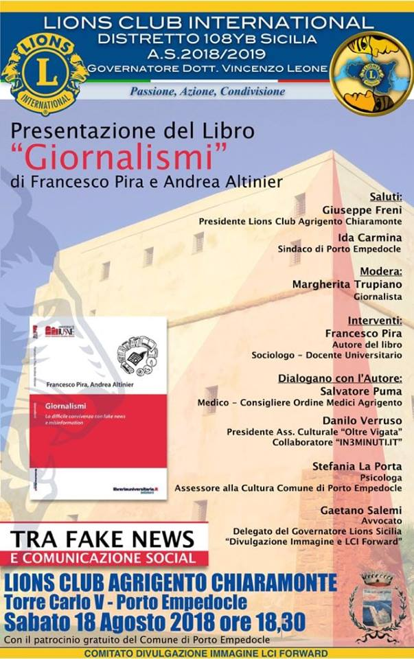 Porto Empedocle, Francesco Pira presenta GIORNALISMI il nuovo libro sulle fake news