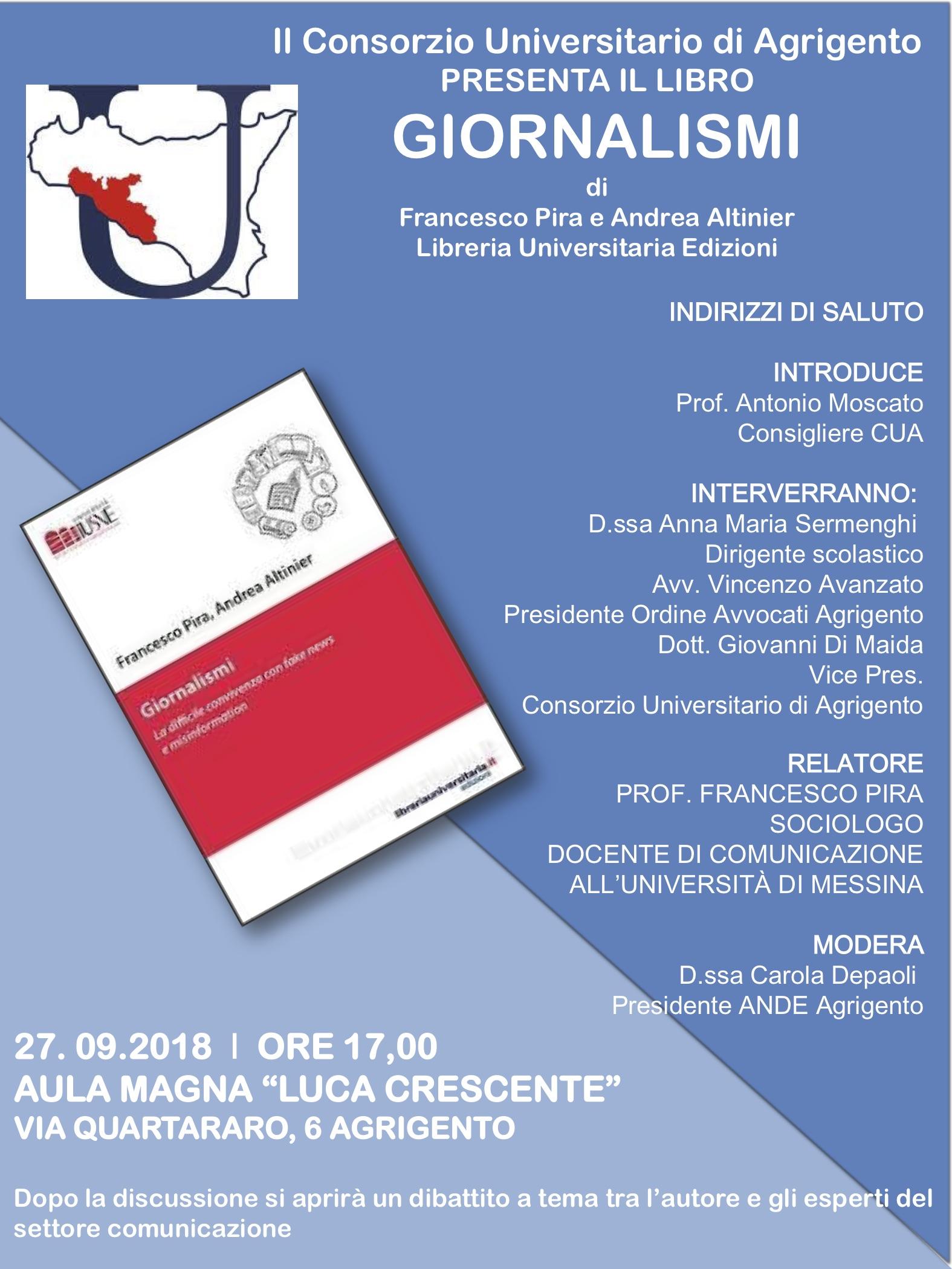 """Agrigento, al Consorzio Universitario si presenta il libro """"Giornalismi"""" di Pira e Altinier"""
