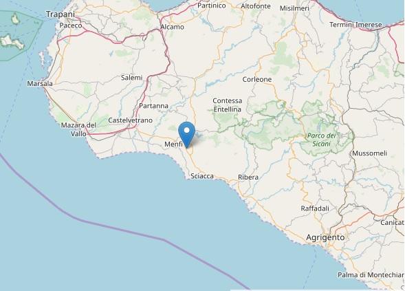 Nuova leggera scossa nell'agrigentino, terremoto 2.3 gradi Richter a Menfi