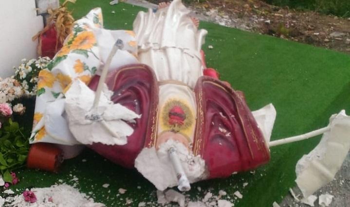 Nuovo atto sacrilego a Favara, distrutta un'altra statua del Cristo