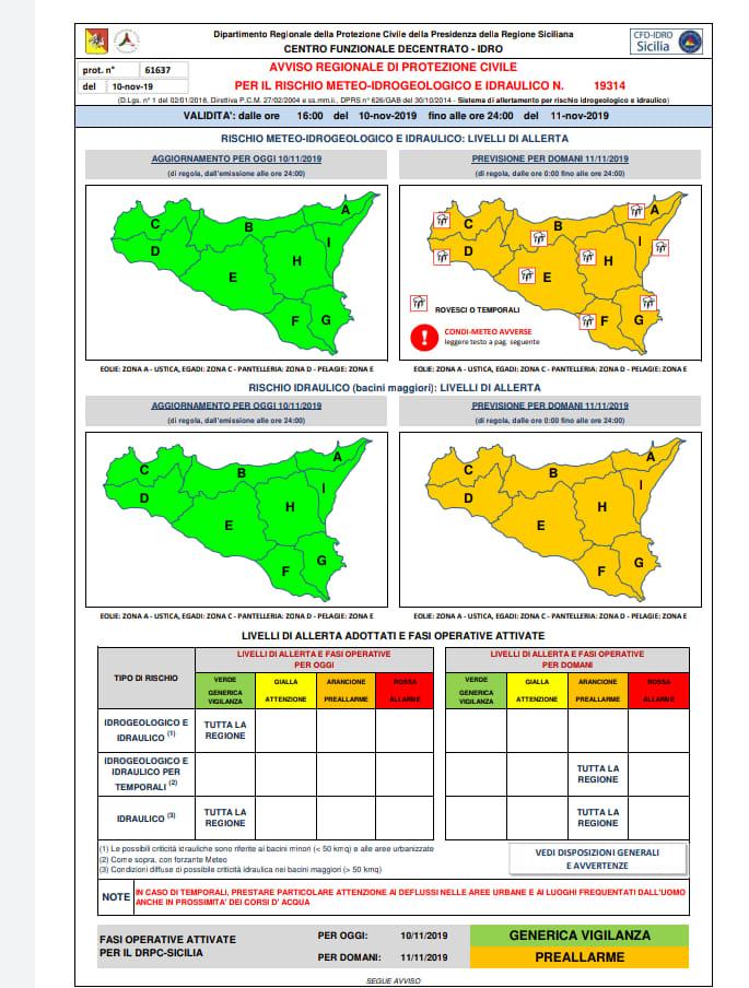 Allerta meteo, chiuse le scuole anche ad Agrigento