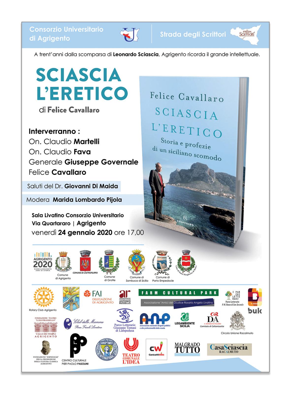 """Consorzio Universitario Empedocle, si presenta il libro """"Sciascia l'eretico"""" di Felice Cavallaro"""
